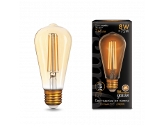 Лампа Gauss LED Filament ST64 E27 8W Golden 2400К